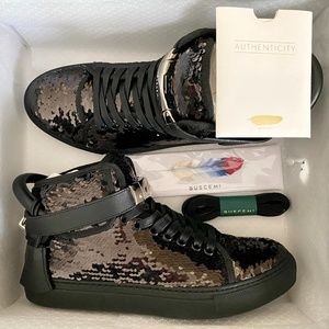 Buscemi 100MM Unisex 20K Sequins High-Top Sneakers
